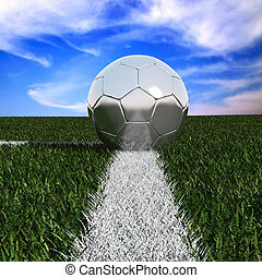 Silver soccer ball in the grass isolated on against the sky