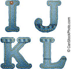 alfabeto,  denim,  J, Calças brim,  L, letras,  K