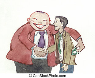 swindling shaking hands - a big man steal money shaking...