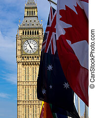 Big Ben with different flags