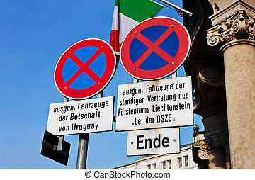 stopping in the embassy district - traffic signs will be...