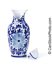 Broken Ceramic Vase - Broken Chinese Ceramic Vase On White...