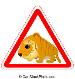 Warning sign with a funny Tiger