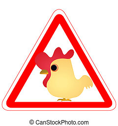 Warning sign with a funny Rooster