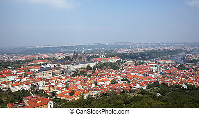 prague, city view from petrin lookout tower - view from the...
