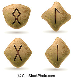 Runes Engraved on Stone. Set number three on white