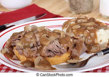 Roast Beef and Gravy - Open roast beef sandwich with mash...
