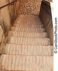 stairs in Alcazaba  in the Alhambra, Granada, Spain.