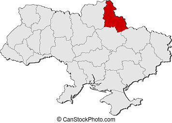 Map of Ukraine, Sumy highlighted - Political map of Ukraine...