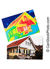 energy savings. house with thermal imaging - save energy by...