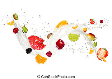 Fruit mix in milk splash