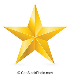 Shiny Gold Star Form of first Illustration for design on...