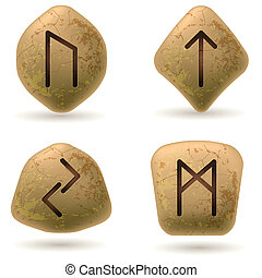 Runes Engraved on Stone Set number four on white