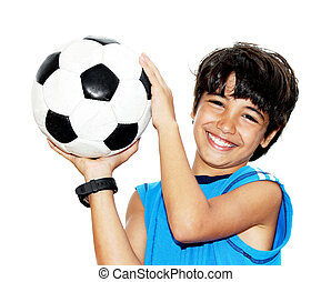 Cute boy playing football, happy child, young male teen...