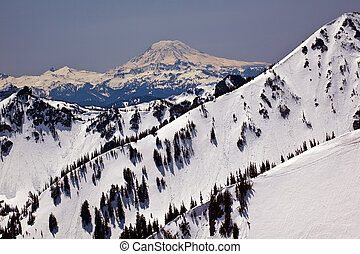 Snowy Mount Saint Adams and Ridge Lines Mountain Glacier...
