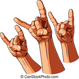 Set of three heavy metal hands. Vector illustration