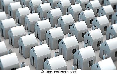 many houses isolated on white background