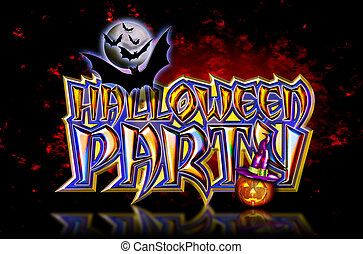 Halloween Party Bats Fire Ground - Halloween Party Lettering...