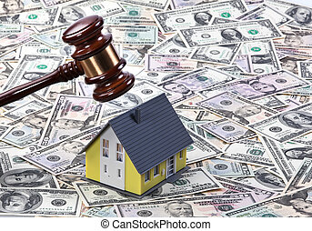 dollar currency notes, gavel and model building housing...