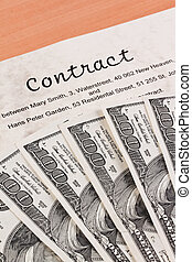 dollar currency notes and english contract