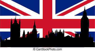 Houses of Parliament and Union Jack - Houses of Parliament...