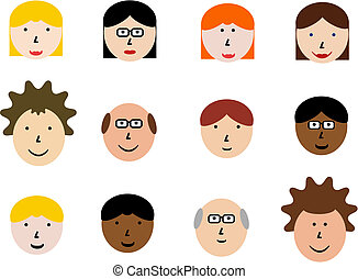 Cartoon faces - Face icon set - group of face emotions and...
