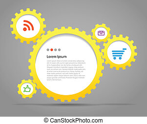 Abstract speech clouds of gear wheels with media icons....