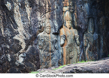 Buddhist temple on Sri Lanka - Carving in buddhist temple...