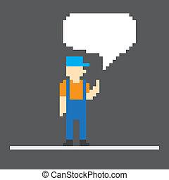 Pixel worker with speech cloud. Template foe a text