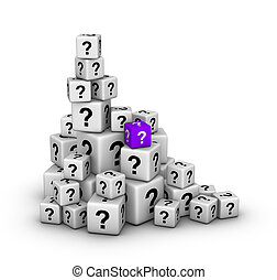 pile of dices with question marks