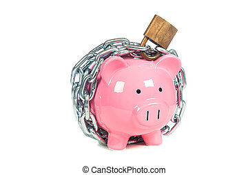 Pink Piggybank - A pink piggybank chained up and locked....