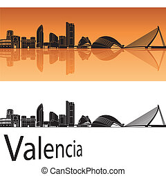 Valencia skyline in orange background in editable vector...
