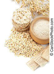 oat products - Different oat products isolated on white...