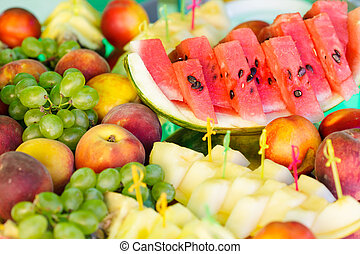 Fruits on mirror stand