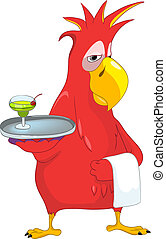 Funny Parrot. Waiter. - Cartoon Character Funny Parrot...
