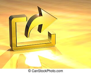 3D Export Gold Sign over yellow background