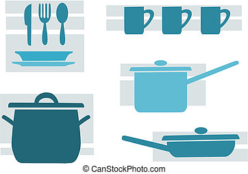 Kitchen tools, blue and beauty vector illustration.
