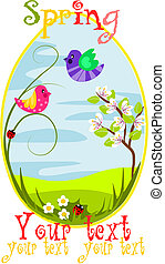 Spring egg with beauty landscape.