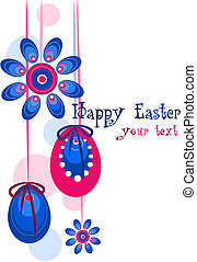Beauty colorful vector illustration - Easter wreath.
