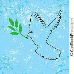 dove - vector dove with olive branch