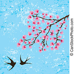 floral - vector floral branch with swallows