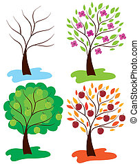 apple trees - vector apple trees