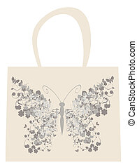 bag - vector fashion bag with vintage butterfly