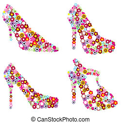 floral shoes - vector set of floral shoes