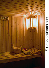 Interior of a wooden sauna - Classical wooden sauna with...
