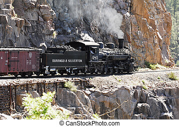 Durango & Silverton Engine 481 pulls it's train through the...