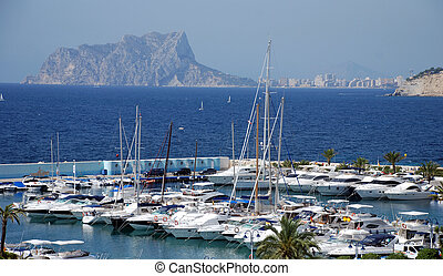 Yacht port Moraira - The city of Moreira on the costa blaca...