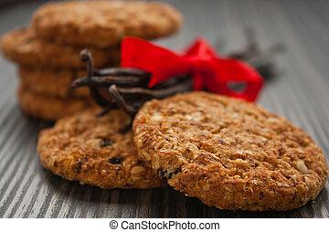 Wholegrain cookies - Pile of wholegrain cookies with raisins...