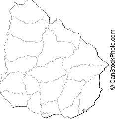 Map of Uruguay - Political map of Uruguay with the several...