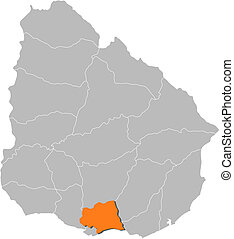 Map of Uruguay, Canelones highlighted